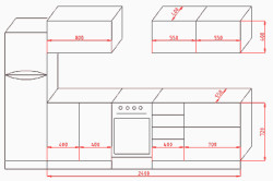 Чертеж гарнитура с горизонтальными шкафчиками