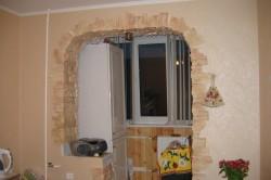 Пример дизайна кухни с балконом