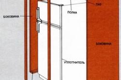 Схема общего вида шкафа для встраиваимого холодильника