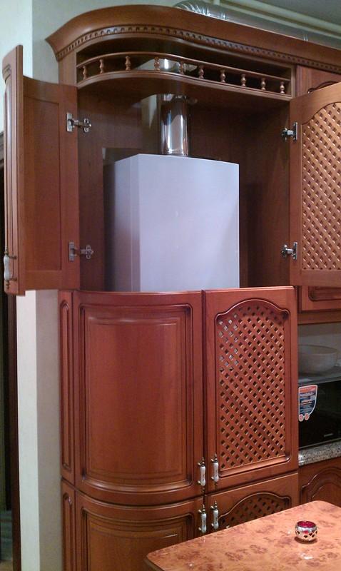 Шкаф для напольного котла на кухне фото
