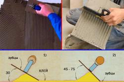 Схема нанесения клея на плитку и напольную поверхность.