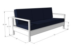 Примерная схема размеров дивана