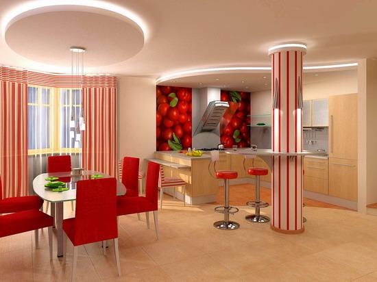 Кухня, комбинированная с гостиной