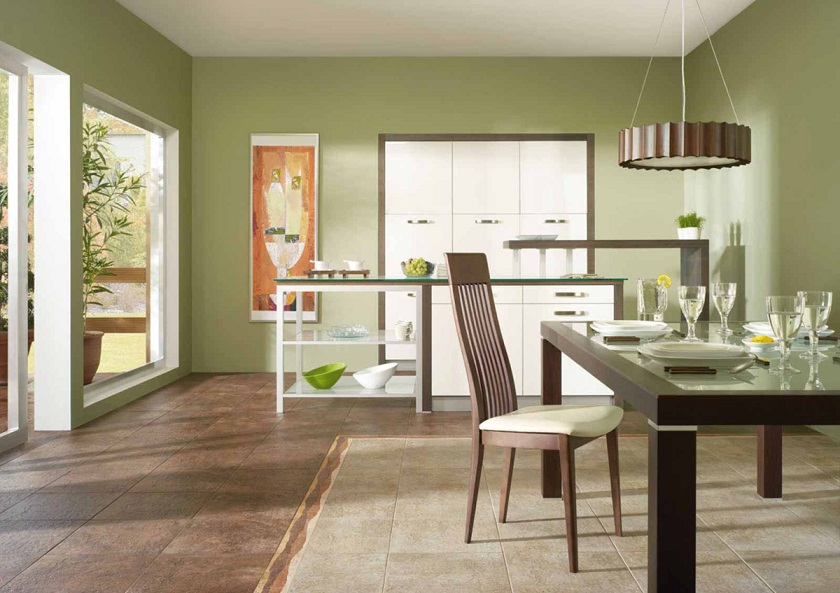 Керамическая напольная плитка на кухне