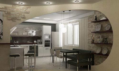 Пример объединения кухни с гостиной с оставлением части стены