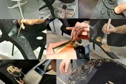 Этапы работы по росписи стола через трафарет своими руками