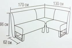 Схема и габаритные размеры кухонного углового дивана
