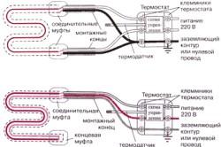 Схема подключения 1- и 2-жильного нагревательного кабеля