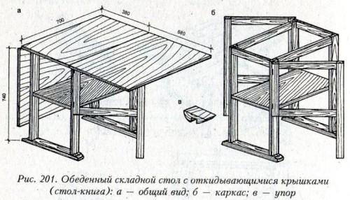 Чертеж раскладного обеденного стола-книги, который можно сделать своими руками из дерева