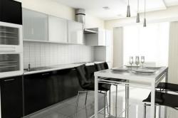 Черный и белый цвета для оформления кухни