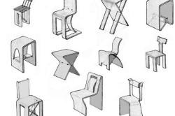 Эскизы стульев и табуретов из фанеры