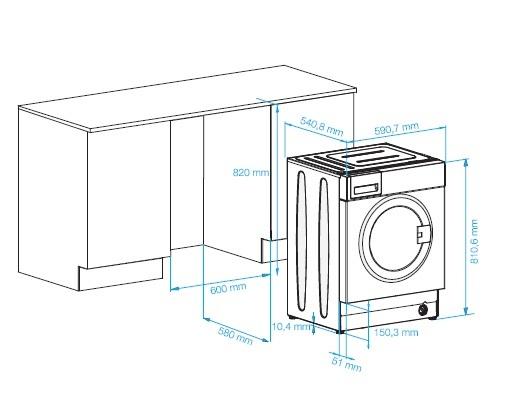 Схема встраивания стиральной машины в кухню