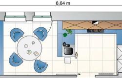 Схема зонирования кухни в зависимости от размеров помещения №2