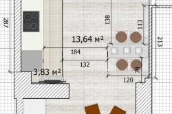 Планировка большой кухни