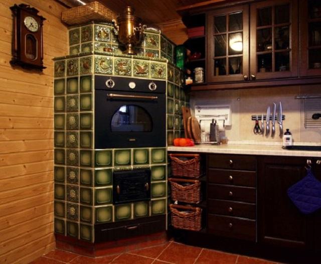 Дизайн кухни с деревенской печкой