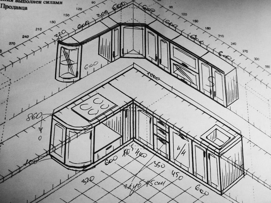 Схема кухонного гарнитура из
