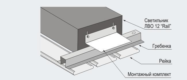 Схема монтажа светильника в
