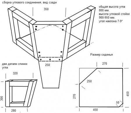 Схема сборки углового дивана