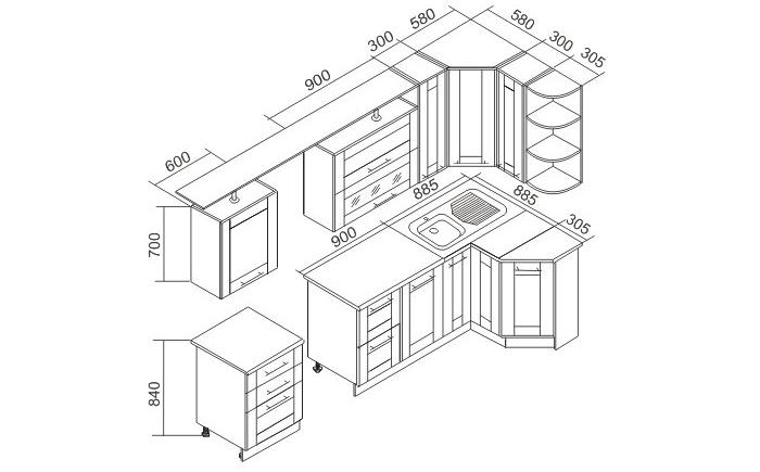 Схема углового гарнитура