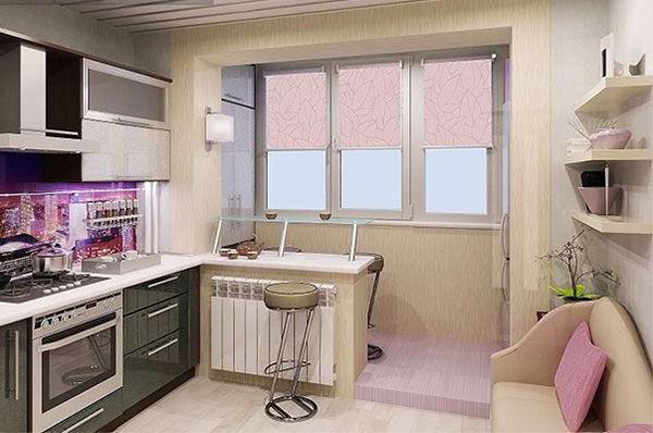 Дизайн кухни совмещенный с балконом фото