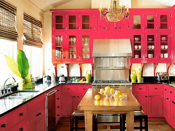 Кухня с крашенным фасадом