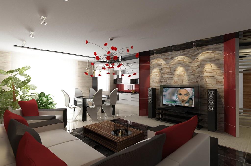 Интерьер совмещенная кухня и зал