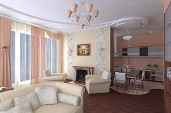 Дизайн кухни и зала