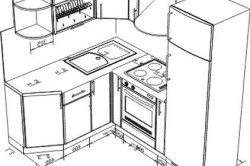 Угловое расположение мебели и техники