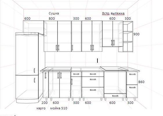 Проект кухни с размерами.