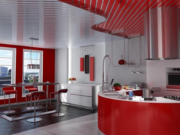 Реечный потолок на кухне