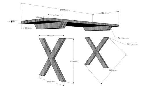 Схема с размерами простого деревянного стола