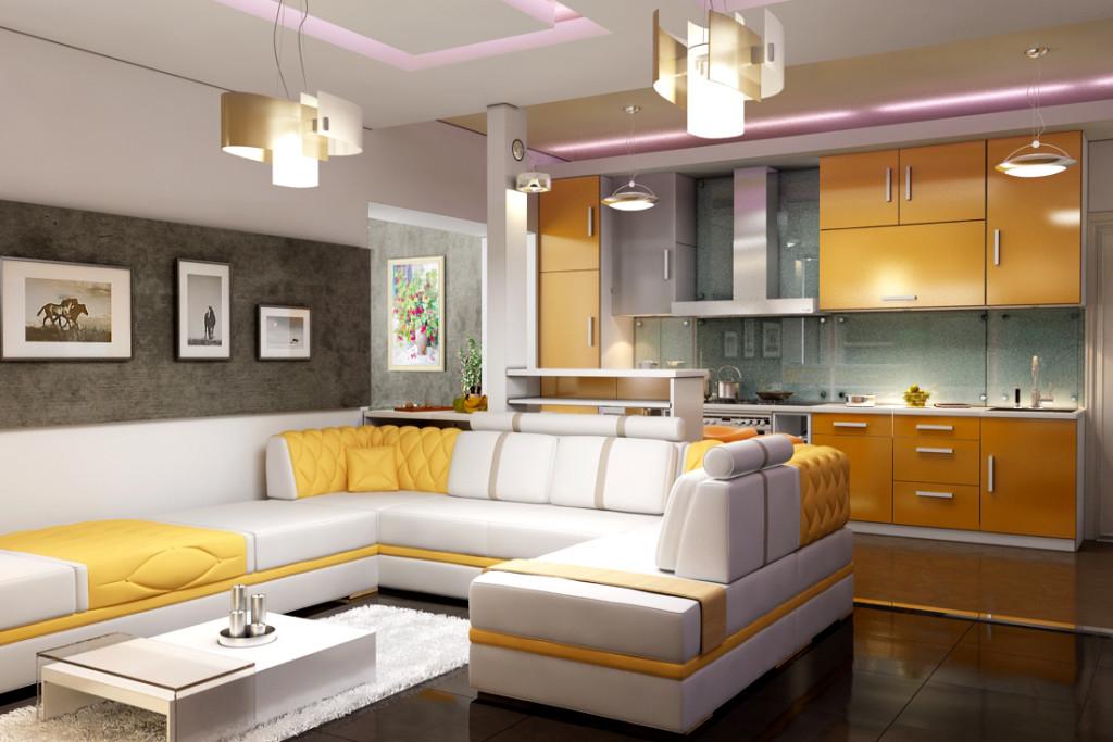 Пример кухни совмещенной с гостиной