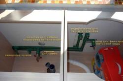 Схема разводки водопровода под кухонной мойкой.