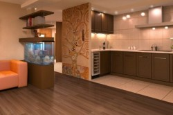 Зонирование кухни и гостиной напольным покрытием