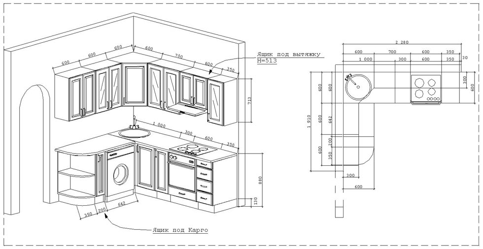 Схема чертежа угловой кухни