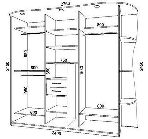Схема размеров шкафа