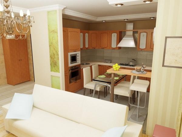 Фото дизайна соединения кухни с залом 9