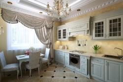 Люстра из хрусталя на кухне в классическом стиле