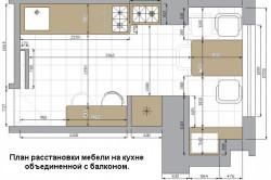 План расстановки мебели на кухне объединенной с балконом
