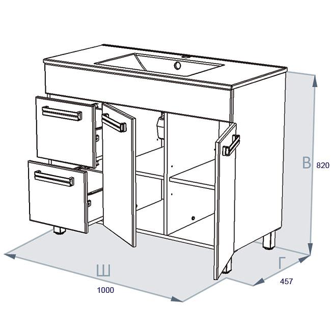 Схема кухонной тумбы с ящиками