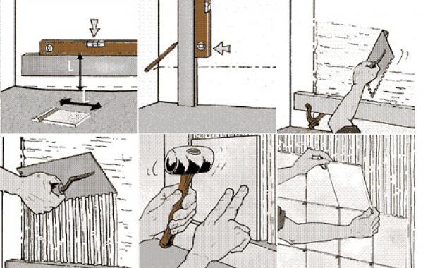 Схема поэтапной укладки плитки