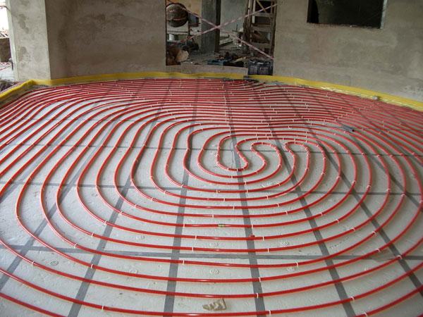 Укладка водяного пола спиралью
