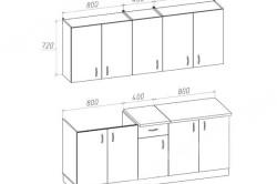 Чертеж гарнитура с вертикальными шкафчиками