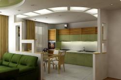 Визуальное разделение кухни и гостиной