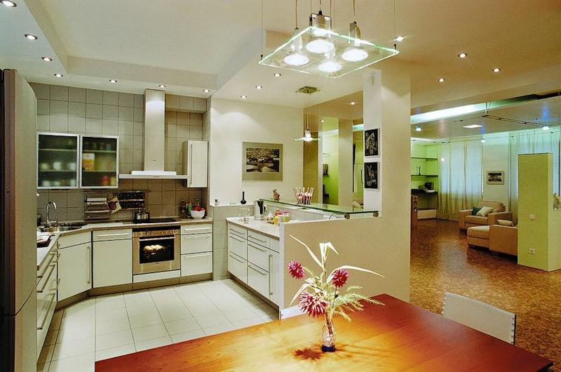 Освещение в кухонной комнате