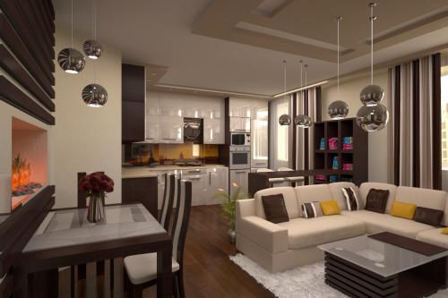 Просторная кухня, совмещенная с залом