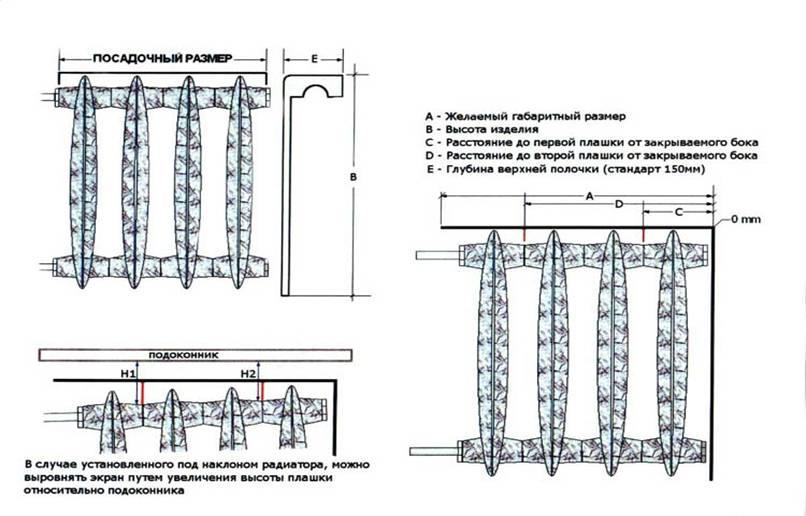 Схема экрана для радиатора