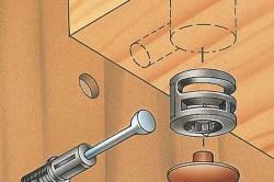 Схема эксцентриковой трехэлементной стяжки фанерных заготовок кухни