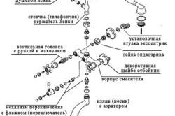 Схема сборки двухвентильного смесителя