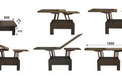 Схема трансформации стола-трансформера